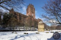 Liverpool Cathedral and William Huskisson Memorial in snow