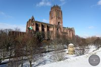 Liverpool Cathedral and St James Gardens in snow