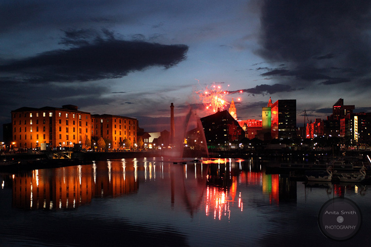 Fireworks over Mann Island and Salthouse Dock